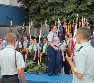 Junior Miriam Mata leads the JROTC students in an inspirational chant. The 9/11 ceremony was held on Sep. 11 in the gym. Photo by Ashley Voet.